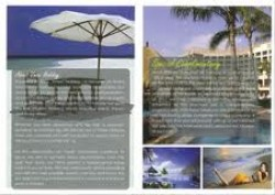 Pages of the Vmac pamphlet showing white beaches and with wooden chairs and white beach umbrella as well as shots of a resort overlooking a pool