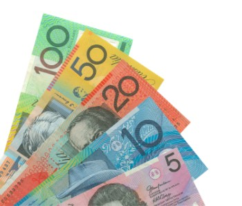 The Australian money notes spread out in a fan