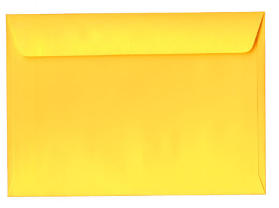 A yellow envelope seen from behind