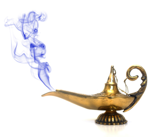 An antique oil lamp with dark blue smoke.