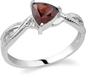 Silver and triangle garnet ring  on a white background