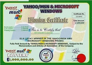 An example of a yahoo and msn scam certificate