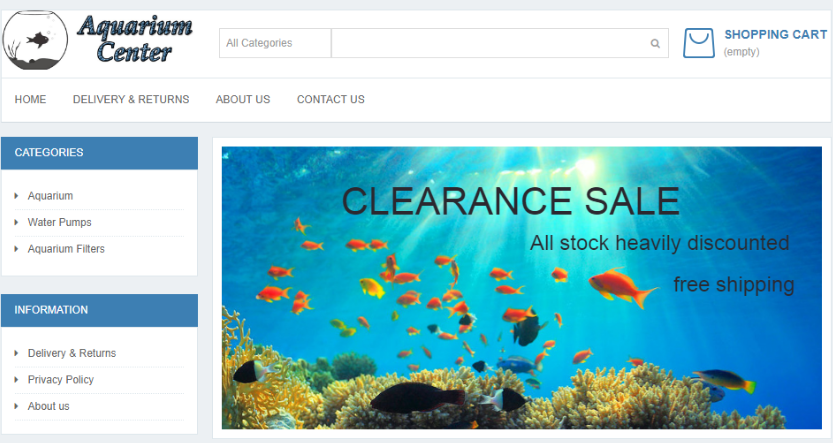 Fake aquariums and accessories website