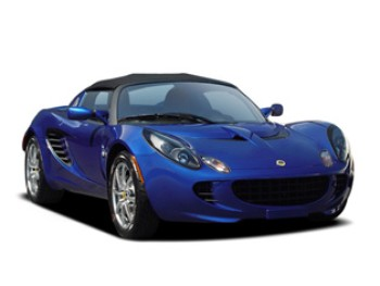 A dark blue car (2007 lotus elise)