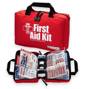 Two first aid kits, one closed, one open