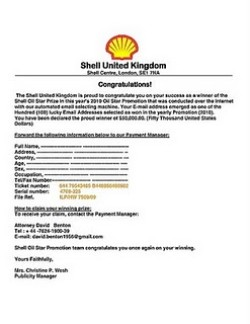 An example of a shell united kingdom scam email