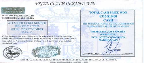 An example of a prize claim scam certificate