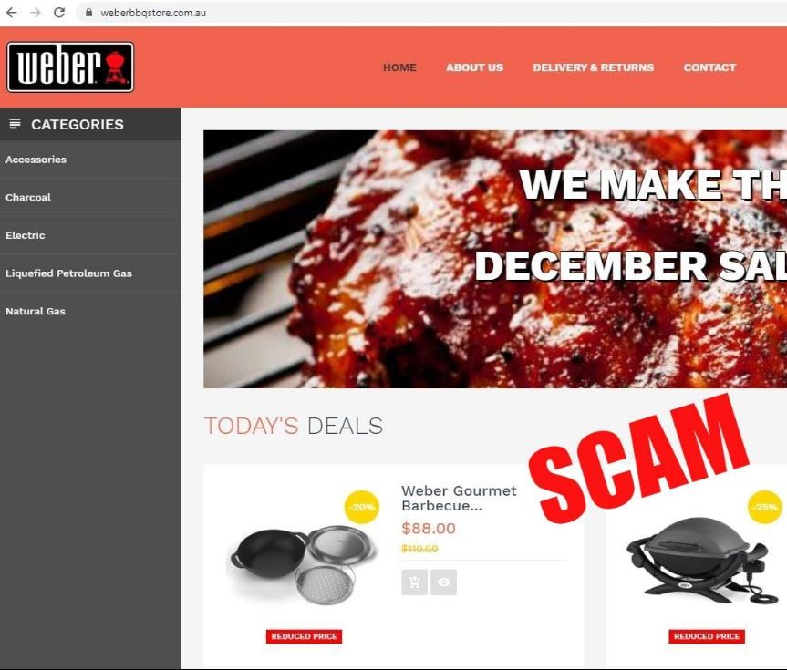 screen shot of fake Weber bbq web page with the copy Scam