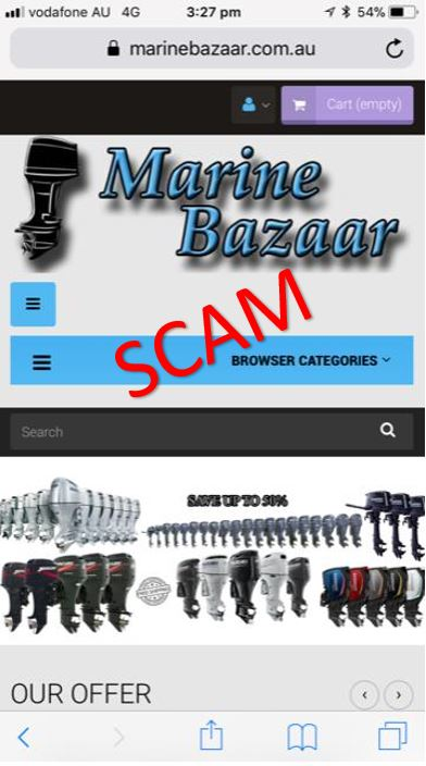 Bogus boating website