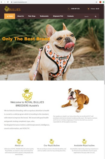 screenshot of fake puppy website royal online bullie