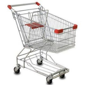 A metal shopping trolley