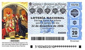 Sample scam lottery ticket with an illuminated manuscript style image of the nativity