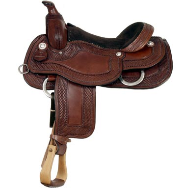 A brown leather saddle on a white background