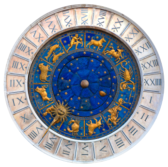 A pottery astrological circle marking the passage of the zodiac signs in gold and blue