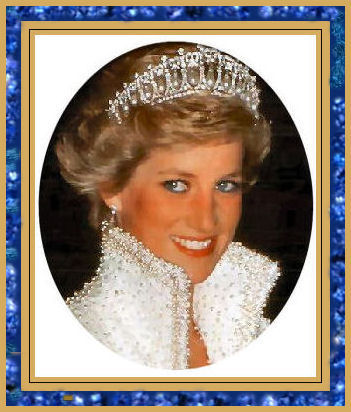 A photograph of Princess Dianna with a blue boarder