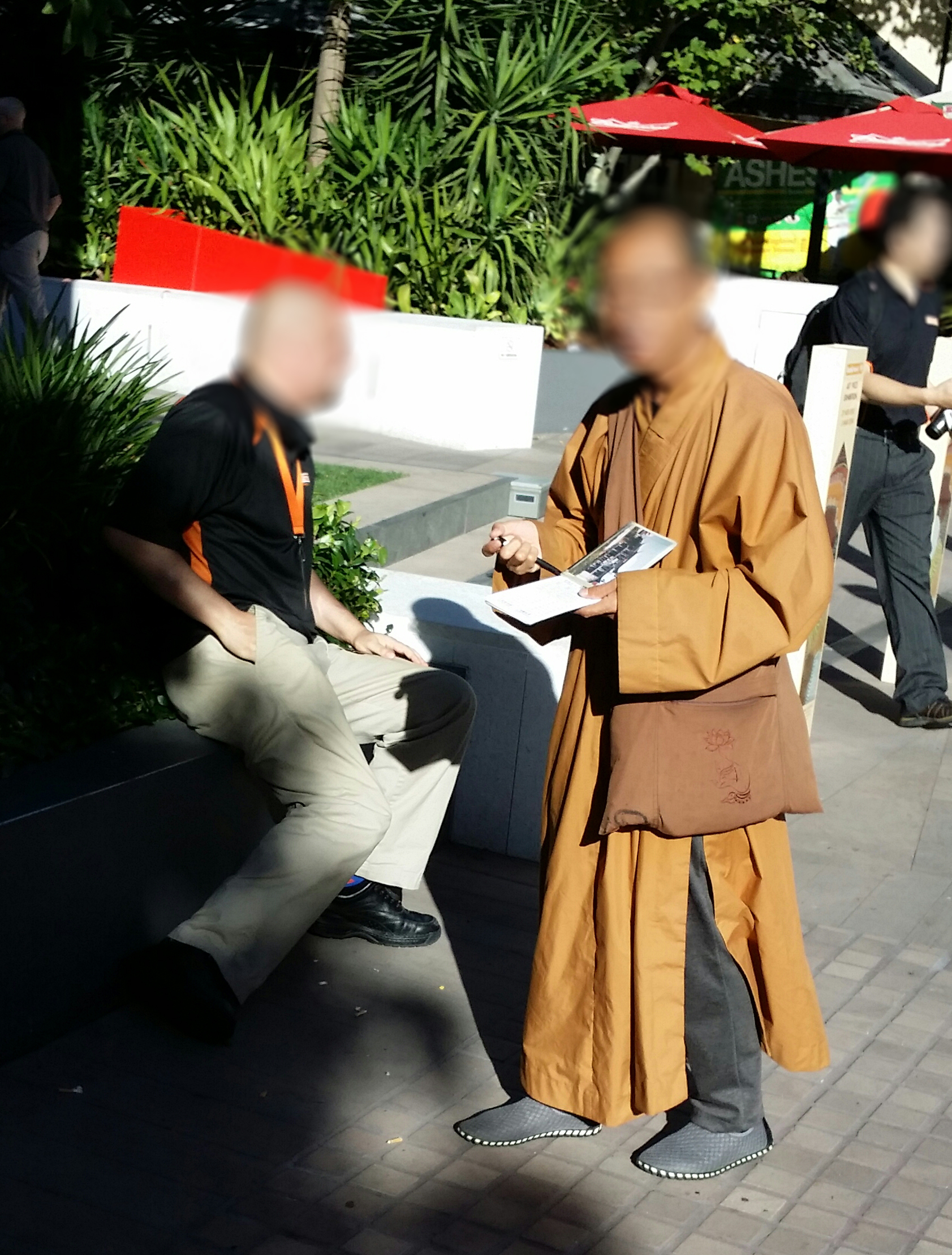 Money collecting monks