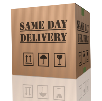 "A cardboard box with the words ""same day delivery"" written on it"