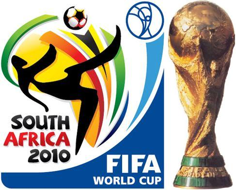 FIFA World Cup 2010 logo with the FIFA trophy next to it