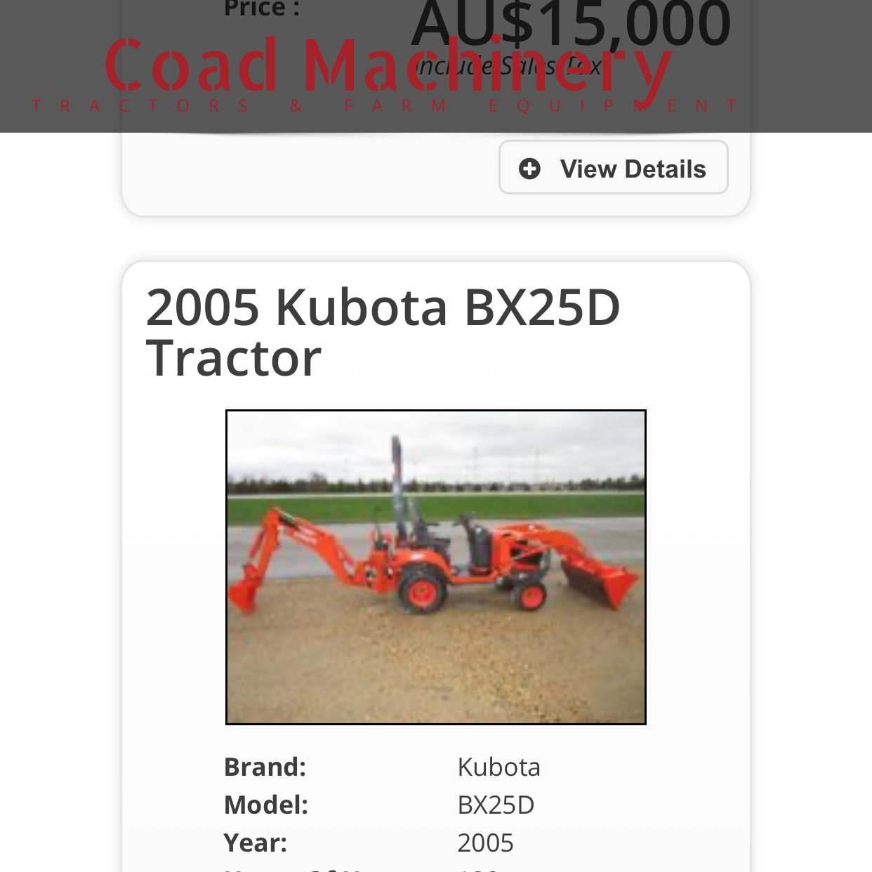 screenshot of fake website Coad Machinery - tractor for sale
