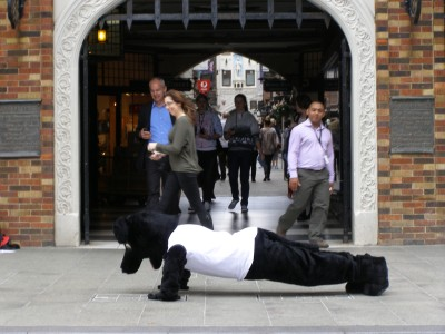 Jet doing push ups in front of London Court