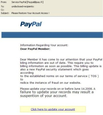 An example of a scam paypal email with the offical paypal logo
