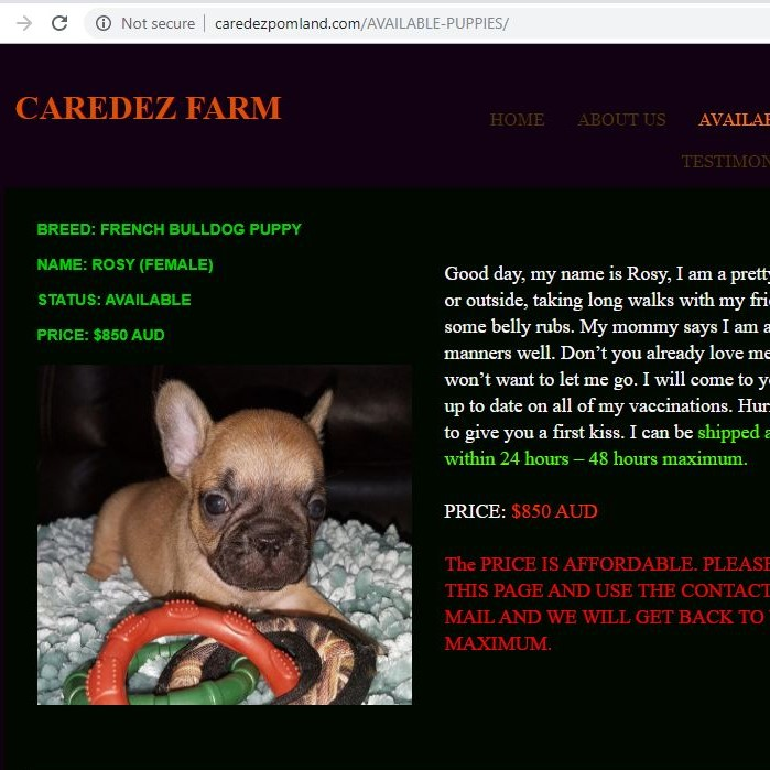 Caredez Farm puppy scam