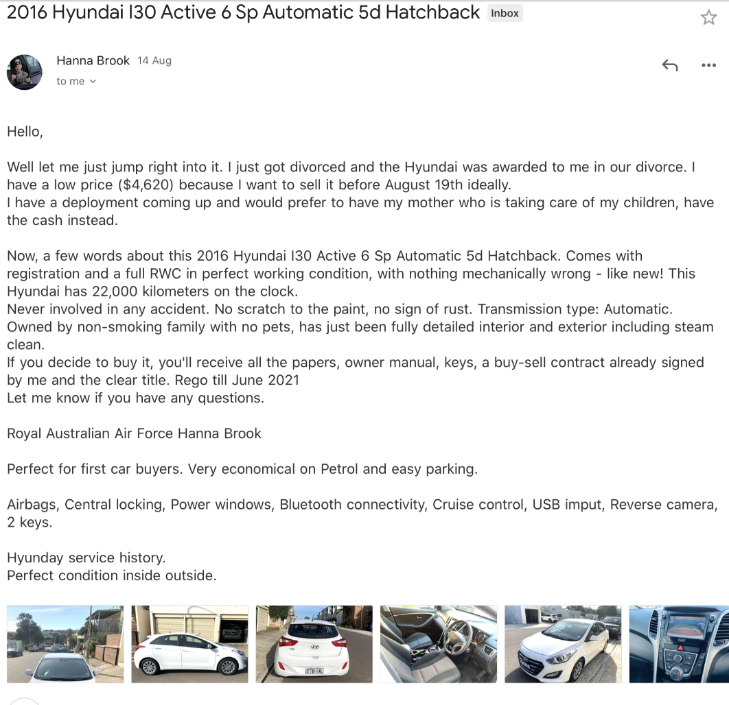 Divorce used car scam - message 3