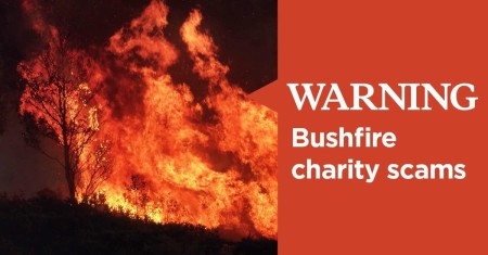 fire blazing though bush with Warning Bushfire charity scam copy
