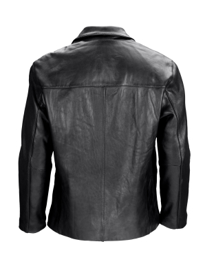 Black leather jacket seen from behind