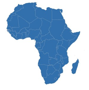 A blue map of Africa