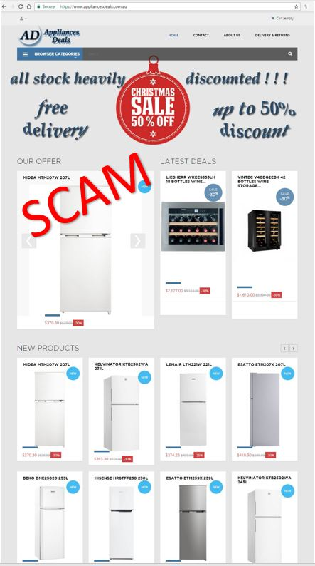 Bogus Appliances Deals website